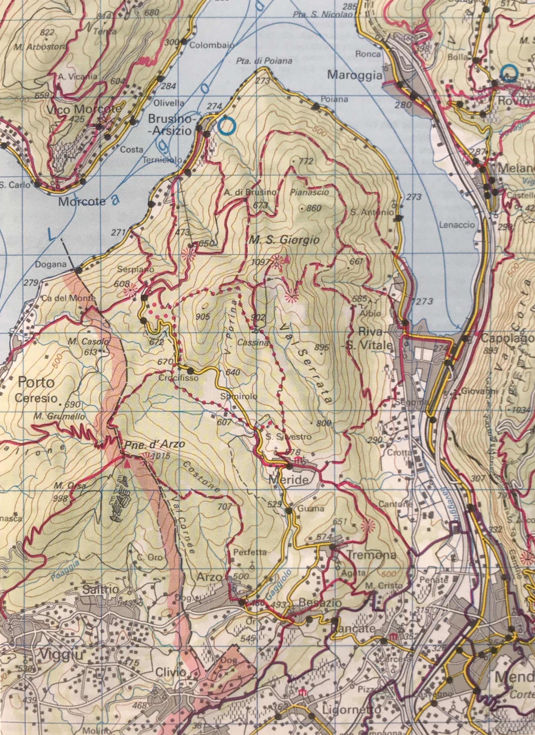Mappa dei sentieri Monte S. Giorgio