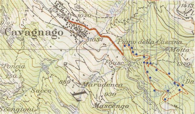 Cavagnago - Mappa dei sentieri